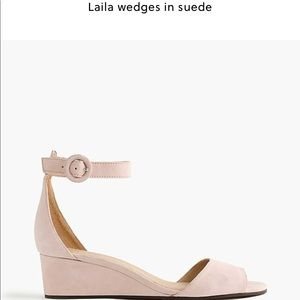 J CREW Laila wedges in blush pink suede ankle 7.5
